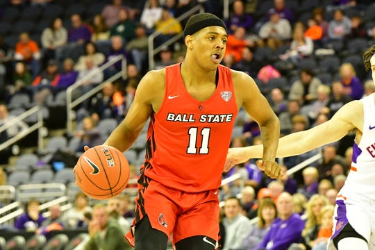 Ball State redshirt freshman guard Jarron Coleman competes for the Cardinals in their game against Evansville. The Purple Aces defeated the Cardinals.