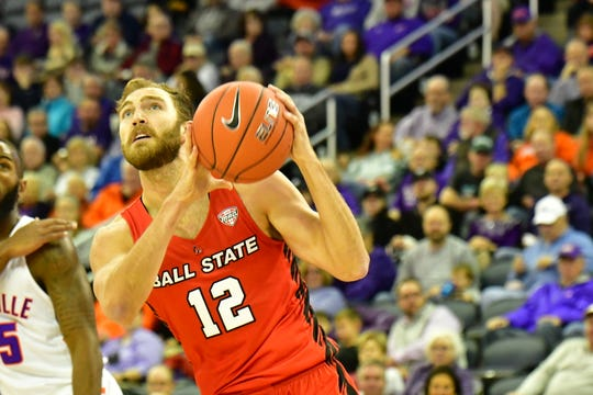 Redshirt junior forward Brachen Hazen competes for Ball State during it sgame against Evansville. The Purple Aces defeated the Cardinals.