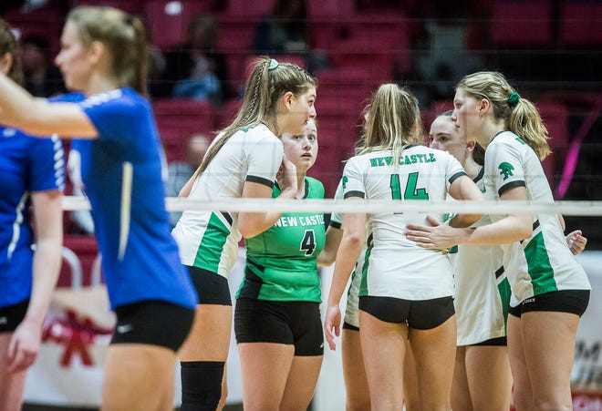 FILE -- New Castle defeated Hamilton Southeastern 3-1 during their state final at Worthen Arena Saturday, Nov. 9, 2019. Last week, the IHSAA adopted NFHS rules volleyball rules considerations for the 2020-21 season.