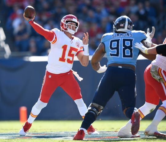 Kansas City Chiefs quarterback Patrick Mahomes (15) throws during the first quarter at Nissan Stadium Sunday, Nov. 10, 2019 in Nashville, Tenn.