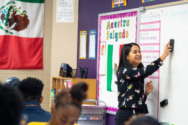 Evelin Salgado teaches during her Spanish II class at Cane Ridge High School on Nov. 7, 2019 in Nashville.