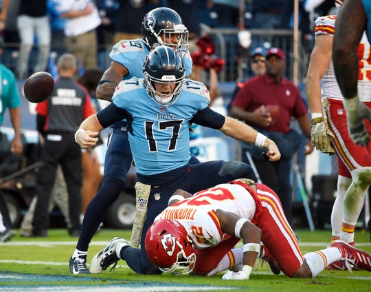 Tennessee Titans quarterback Ryan Tannehill (17) celebrates running in a two-point conversion late in the fourth quarter to beat the Kansas City Chiefs at Nissan Stadium Sunday, Nov. 10, 2019 in Nashville, Tenn.
