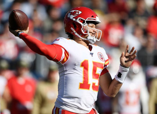 Kansas City Chiefs quarterback Patrick Mahomes (15) passes during the second half against the Tennessee Titans  at Nissan Stadium Sunday, Nov. 10, 2019 in Nashville, Tenn.