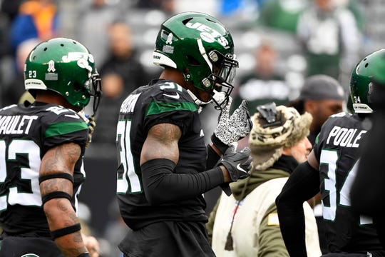 Former Rutgers player and now New York Jet Bless Austin suits up for warm ups before facing the New York Giants on Sunday, Nov. 10, 2019, in East Rutherford.