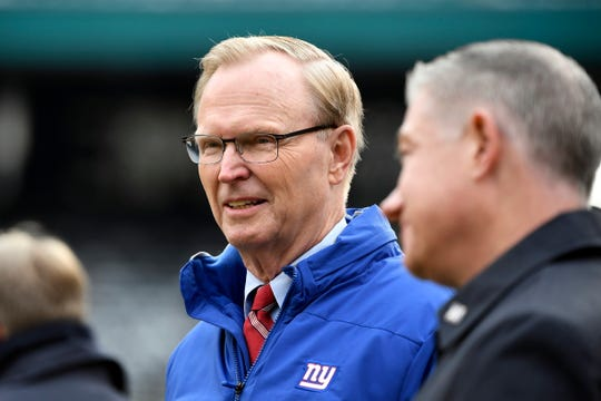 New York Giants co-owner and CEO John Mara on the field before the Giants face the New York Jets on Sunday, Nov. 10, 2019, in East Rutherford.