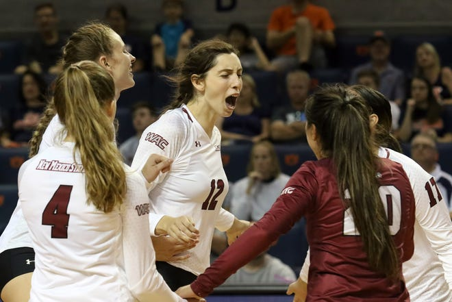 The New Mexico State volleyball team secured the regular-season WAC title on Saturday with a sweep against Grand Canyon on the road.