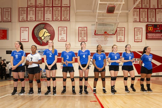 The nine players from Desert Christian Academy line up before the game: They are from left to right -- Tessa Smith, Kaia Johnson, Emmi Jacobus, Kate Smith, Natalie Duncan, Melia Johnson, Kate Williams, Mackenzie Harrell and Gloria Juarez.