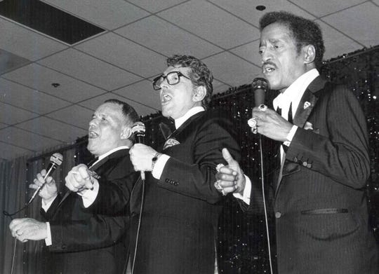 From left, Frank Sinatra, Dean Martin and Sammy Davis, Jr. rehearsing for United Fund Charity Kickoff show at the Riviera Hotel.