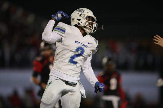 UWF linebacker Andre Duncombe celebrates a turnover for the Argos against No. 1 Valdosta State on Nov 9, 2019.