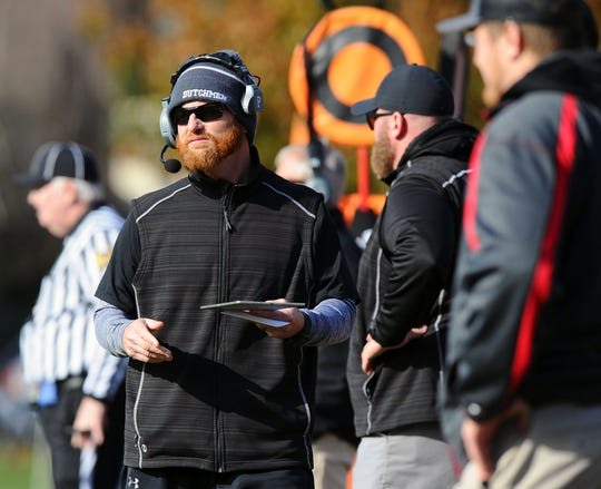 A-C head coach Matt Gingrich watches his team from the sideline  in a District III 3A semifinal game between the A-C Dutchmen and the Wyomissing Spartans on Sat.Nov.9,2019 at Wyomissing's stadium.