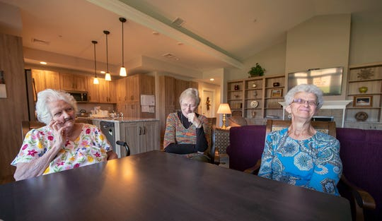 From the left, Rose Marie Sheaffer, 78, Ruth Dunlap, 74, and Esther Courtney, 71, share a laugh while talking about living together at Thistledown Co-living House in Earl Township, Lancaster County.