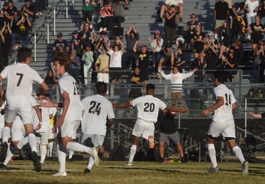 Galena celebrates after a late goal against Spanish Springs during their Northern 4A region boys soccer championship game at Hug High in Reno on Nov. 9, 2019.
