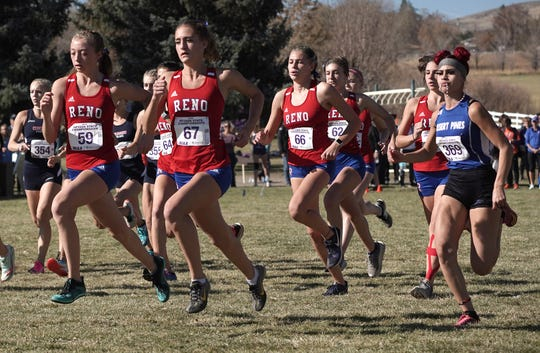 The Reno girls start the race Saturday at Rancho San Rafael.