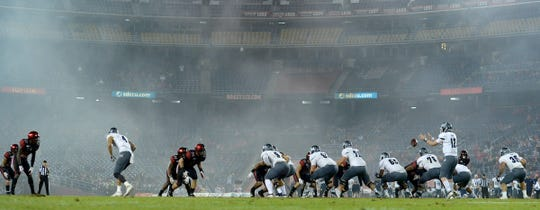 Fog began to build at SDCCU Stadium in the second half, including during this Nevada drive.