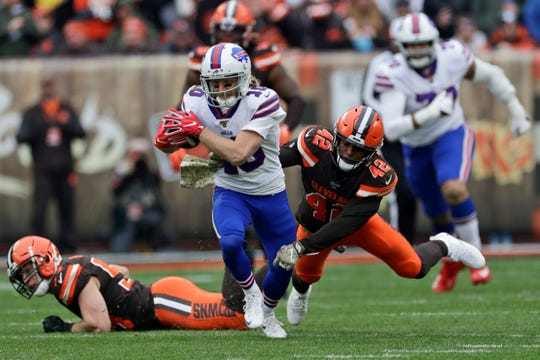 Buffalo Bills wide receiver Cole Beasley (10) rushes against the Cleveland Browns during the second half of an NFL football game, Sunday, Nov. 10, 2019, in Cleveland. (AP Photo/Ron Schwane)