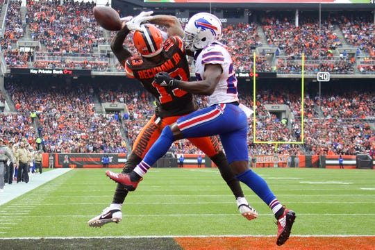 Odell Beckham (13) of the Cleveland Browns can't come down with a first-half touchdown while being defended by Tre'Davious White #27 of the Buffalo Bills at FirstEnergy Stadium on Nov. 10, 2019, in Cleveland.