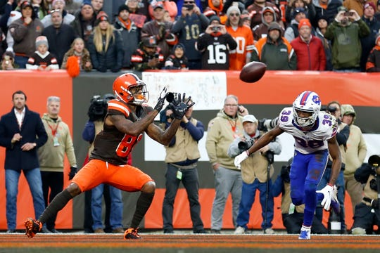Rashard Higgins of the Cleveland Browns catches the game winning touchdown while being defended by Levi Wallace of the Buffalo Bills during the fourth quarter at FirstEnergy Stadium on November 10, 2019 in Cleveland, Ohio. Cleveland defeated Buffalo 19-16.