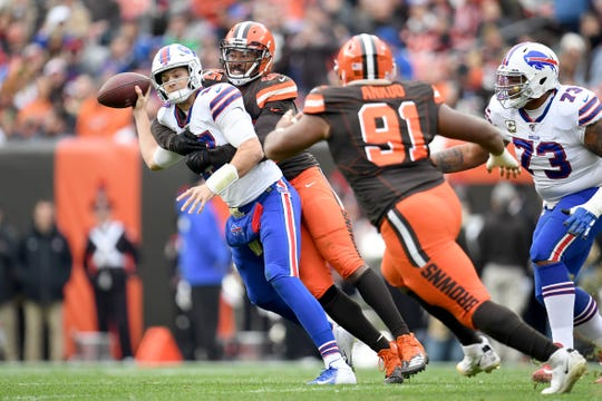 Quarterback Josh Allen (17) of the Buffalo Bills is sacked by defensive end Myles Garrett (95) of the Cleveland Browns during the first half at FirstEnergy Stadium on Sunday, Nov. 10, 2019, in Cleveland, Ohio.