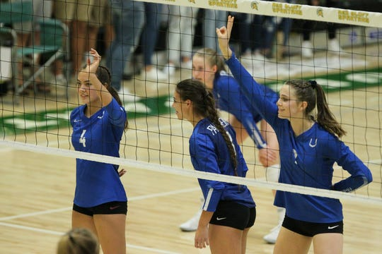 Ashlee Kraft (4), Kaleia Mizuta (3) and Kennedy Kremer signal up before a serve against West Valley.The Panthers defeated West Valley 25-12, 25-13, 25-15 to claim the Northern Section Division IV champion title Saturday, Nov. 9, 2019 in Red Bluff.