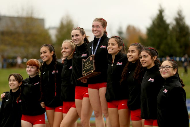 North Salem is award fourth place as a team following the OSAA Class 5A girls cross country state championship at Lane Community College in Eugene on Nov. 9, 2019.