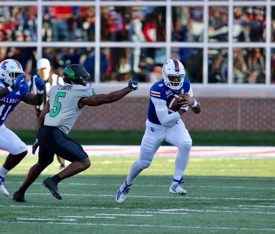Louisiana Tech's J'Mar Smith runs against North Texas Saturday in Joe Aillet Stadium.