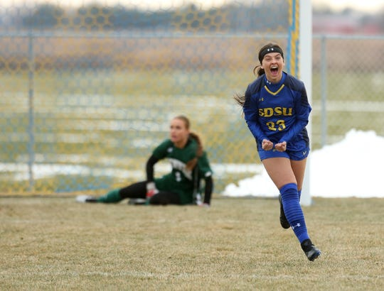 SDSU's Eden Brooker celebrates her goal in the Summit League title game Saturday in Brookings
