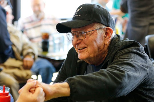 Veteran Ken Gaines seen here at the B-29 Cafe in Ozark that hosted 9 WW2 Veterans on November 4, 2019.