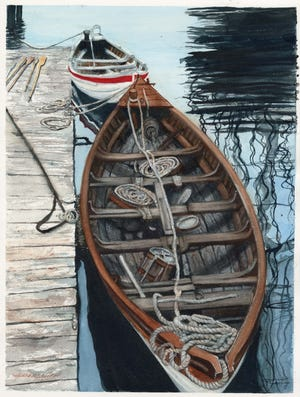 Susan Allen, Boats and Ropes, 2019, watercolor, is part of the Ten Artists show at Gadsden Arts.