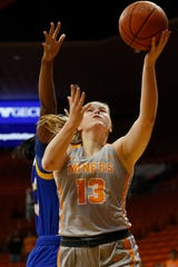 UTEP's Sabine Lipe takes a shot against Cal Riverside in the season opener Saturday, Nov. 9, at the Don Haskins Center in El Paso.
