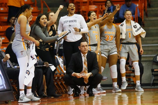 UTEP sideline celebrates during the game against Cal Riverside in the season opener Saturday, Nov. 9, at the Don Haskins Center in El Paso.
