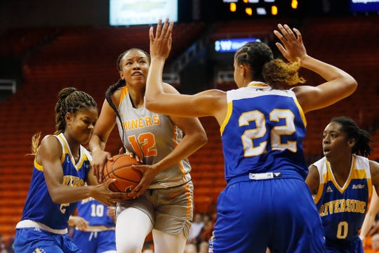 UTEP's Ariona Gill attempts to take a shot against Cal Riverside in the season opener Saturday, Nov. 9, at the Don Haskins Center in El Paso.