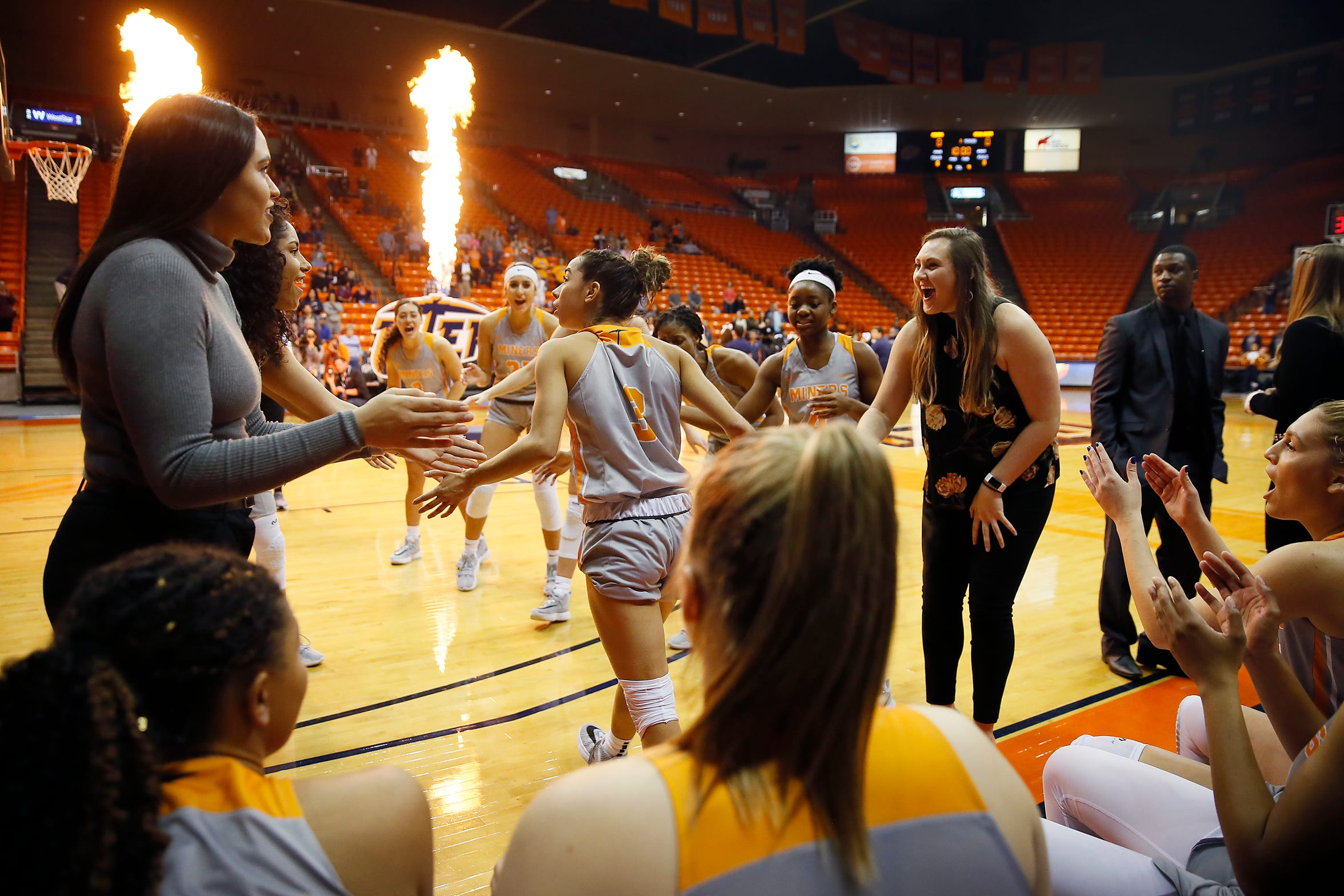 UTEP's Katia Gallegos takes the court for the game against Cal Riverside in the season opener Saturday, Nov. 9, at the Don Haskins Center in El Paso.