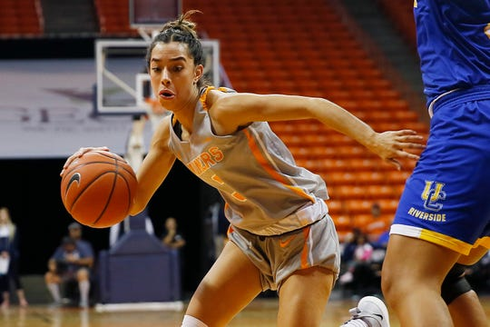 UTEP's Katia Gallegos goes against Cal Riverside defense in the season opener Saturday, Nov. 9, at the Don Haskins Center in El Paso.
