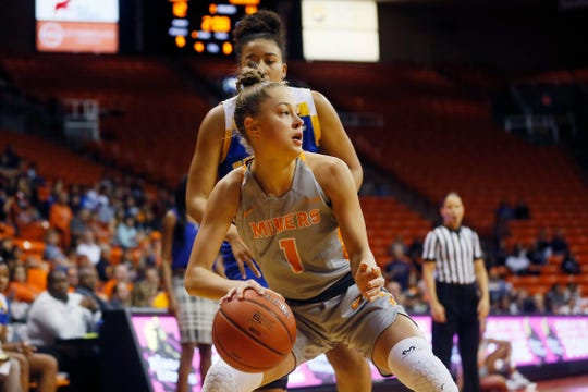 UTEP's Arina Khlopkova goes against Cal Riverside defense in the season opener Saturday, Nov. 9, at the Don Haskins Center in El Paso.