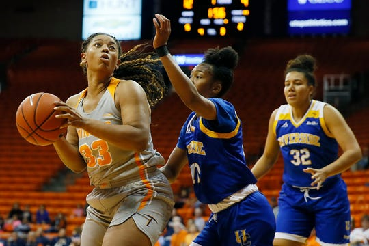 UTEP's Michelle Pruitt goes against Cal Riverside defense in the season opener Saturday, Nov. 9, at the Don Haskins Center in El Paso.