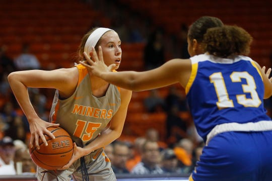 UTEP's Avery Crouse goes against Cal Riverside defense in the season opener Saturday, Nov. 9, at the Don Haskins Center in El Paso.