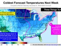 The National Weather Service says records will fall as a cold front sweeps across the nation.