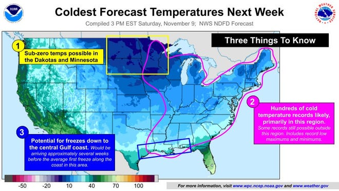 Scores of records could fall as cold sweeps across U.S.
