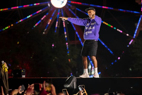 Pharrell performs during the Astroworld Festival.