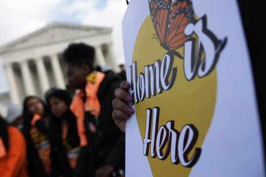 Students rally to defend Deferred Action for Childhood Arrivals (DACA) at the Supreme Court in Washington on Nov. 8, 2019.