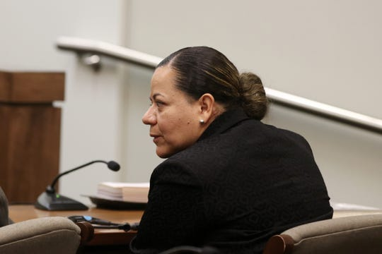 Alexandra Mansonet of Keansburg appears at a hearing on a motion in her upcoming case before Superior Court Judge David F. Bauman at Monmouth County Courthouse in Freehold, NJ Friday, November 8, 2019.  Mansonet is charged with vehicular homicide for allegedly texting and driving in an accident that fatally injured a pedestrian