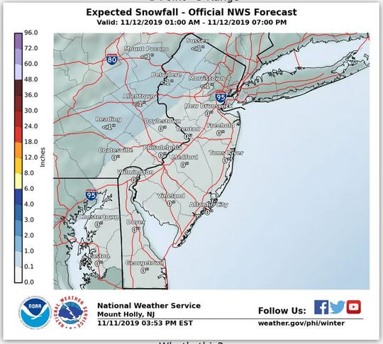 The National Weather Service predicted very little accumulation for Nov. 12, 2019.