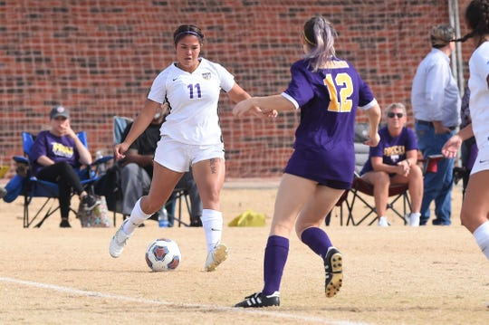 Hardin-Simmons' Avery Lara (11) sends a cross in against Mary Hardin-Baylor in the ASC tournament championship at the HSU Soccer Complex on Sunday, Nov. 10, 2019. The Cowgirls won 2-0 for their 17th-straight tournament title.