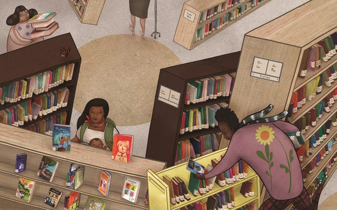 """Yuyi Morales and her own son discovered worlds beyond their own borders in a San Francisco library, a scene depicted in her book """"Dreamers."""""""