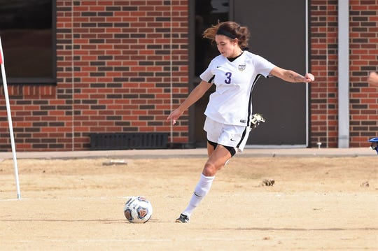 Hardin-Simmons' Madelyn Dowell (3) delivers a cross against Mary Hardin-Baylor in the ASC tournament championship at the HSU Soccer Complex on Sunday, Nov. 10, 2019. The Cowgirls won 2-0 for their 17th-straight tournament title.