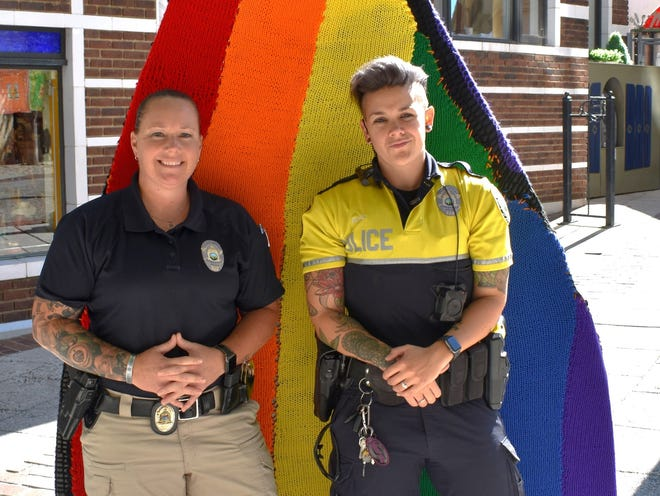 Sergeant Melissa Lackey, left, and Senior Police Officer Lindsay Rose are APD's LGBTQ+ liaisons.
