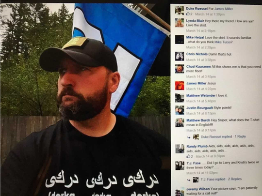 "In October 2017 the Kitsap Sun received this screenshot in an email from an anonymous person, questioning if a Muslim would feel comfortable dealing with the ranking officers who allegedly made the post and commented. It appears the T-shirt and ""aids"" comment were in reference to the movie ""Team America: World Police."""