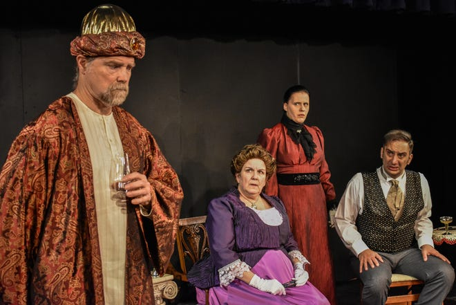 Podgers (Charlie Hamilton, from left) draws skeptical responses from Lady Windermere (Kim Hart), Sybil (Karen Ventrice) and Lord Arthur (Scott Ventrice).