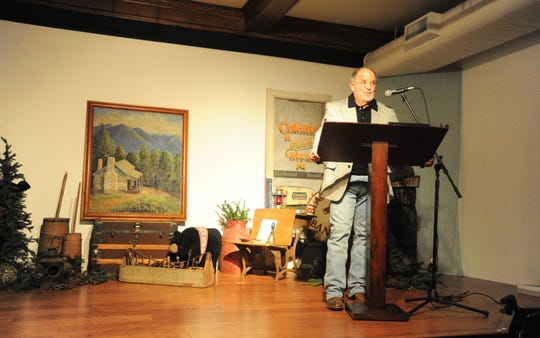 Wendell Begley addresses supporters of the Swannanoa Valley Museum & History Center, Nov. 8, during a ceremony celebrating his 21 years as chair of the museum's board of directors.