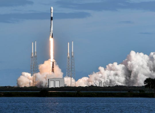 A SpaceX Falcon 9 rocket lifts off from Cape Canaveral Air Force Station Monday, Nov. 11, 2019. The rocket is carrying 60 Starlink communications satellites for SpaceX. Mandatory Credit: Craig Bailey/FLORIDA TODAY via USA TODAY NETWORK